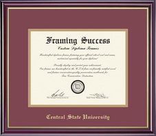 Framing Success Windsor MA Diploma, Double Mat in a high gloss cherry finish w gold inner bevel