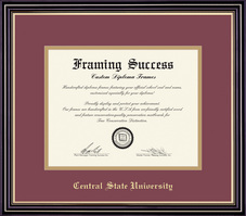 Framing Success Prestige MA Diploma, Double Mat in a satin black finish with beautiful gold accents