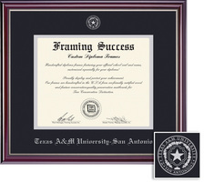 Framing Success Jefferson Diploma, Double Mat in a HighGloss Cherry Finish with Silver Inner Bevel