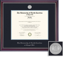 Framing Success Jefferson Medallion Diploma, Dbl Mat HighGloss Cherry Finish Silver Inner Bevel