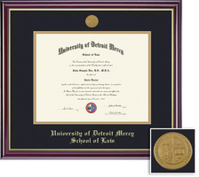Framing Success Windsor Law Mdl Diploma, Dbl Mat in highgloss cherry finish w gold inner bevel