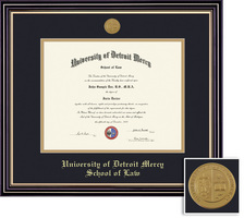 Framing Success Prestige Law Medalion Diploma Double Mat satin black finish beautiful gold accents