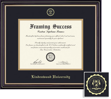Framing Success Prestige BA Diploma, Double Mat Satin Black Finish Gold Accents