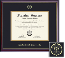Framing Success Windsor MA Diploma, Double Mat High Gloss Cherry Finish Gold Inner Bevel