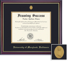 Framing Success Windsor Diploma, Double Mat High Gloss Cherry Finish with Gold Inner Bevel