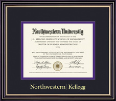 Framing Success Kellogg Diploma Double Mat Satin Black Finish with Beautiful Gold Accents