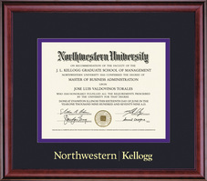 Framing Success Kellogg Diploma Double Mat in Rich Burnished Cherry Finish
