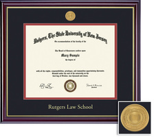 Framing Success Law Medallion Diploma, Double Mat High Gloss Cherry Finish with Gold Inner Bevel
