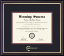 Framing Success Prestige Pub Policy Diploma, Double Mat Satin Black with Beautiful Gold Accents