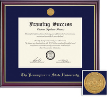 Framing Success Windsor MD Medallion Diploma, Double Mat high gloss cherry with gold inner bevel