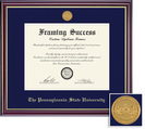 Framing Success Windsor Medallion Double Diploma, Double Mat high gloss cherry finish