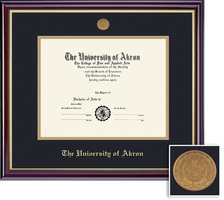 Framing Success Windsor BAMA Diploma, Double Mat in highgloss cherry finish with gold inner bevel