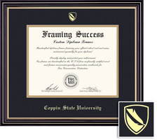 Framing Success Windsor MA Diploma, Double Mat highgloss cherry finish with a gold inner bevel