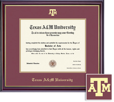 Framing Success Windsor BAMAPhDDVM Diploma, Dbl Mat in highgloss cherry with gold inner bevel