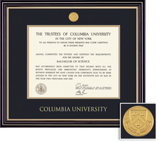 Framing Success Prestige BAMA Mdl Diploma Frame, Dbl Mat in satin black with gold accents