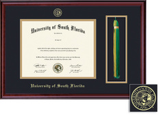 Framing Success Classic Double Matted Diploma & Tassel Frame, Burnished Cherry Finish. Masters, PhD