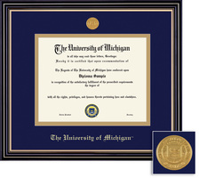 Framing Success Prestige Diploma Frame with Medallion, Double Matted. PhD, Law and Dentistry