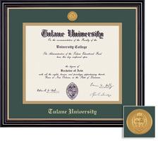 Framing Success Prestige Mdl BA Diploma Frame. Double Matted in Satin Black Finish, Gold Trim