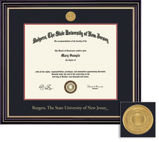 Framing Success Prestige 8.5x11 Diploma Frame Double Matted in Satin Black Finish, Gold Trim