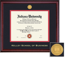 Framing Success Kelley School of Business Classic Dbl Matted Diploma Frame. Burnished Cherry Finish