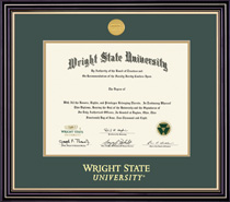 BA, MA Prestige Diploma Frame Double Matted in Satin Black Finish, Gold Trim