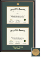 BA, MA Double Diploma Frame Double Matted in Satin Black Finish, Gold Trim