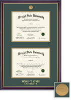 BA, MA Double Diploma Frame Double Matted in Gloss Cherry Finish and Gold Trim