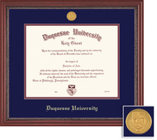 Framing Success Grandeur Diploma Frame with Medallion, Dbl Mat, Mahogany Finish,Carved Inner Border