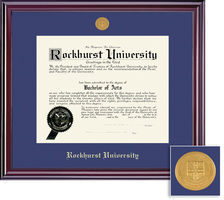 Framing Success Diploma Frame with Medallion & Blue Mat in Gloss Cherry Finish Double Matted