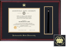 Framing Success Diploma & Tassel Frame,Black & Gold Mat in a Rich Burnished Cherry Finish