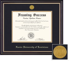 Framing Success Prestige Diploma Frame Double Matted in Satin Black Finish, Gold Trim. Doctorate