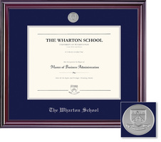 Framing Success Wharton School Jefferson Moulding Single Diploma Frame With Silver Medallion