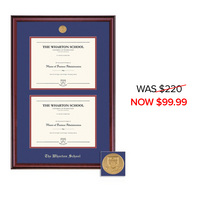Framing Success Wharton School Classic Moulding Double Diploma Frame With Gold Medallion