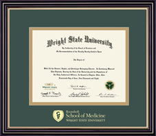 Medical Doctorate. Double Matted in Satin Black Finish, Gold Trim
