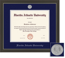 Framing Success Metro Diploma Frame Double Matted in a Modern Slate Gray with a Pewter Finish