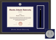 Framing Success Metro Diploma, Tassel Frame Double Matt Modern Slate Gray with a Pewter Finish