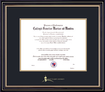 Framing Success Prestige BA Diploma Frame, Double Matted in Satin Black Finish, Gold Trim