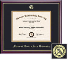 Framing Success Windsor Diploma Frame, Single Mat in Gloss Cherry Finish, Gold Trim