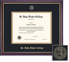 Framing Success Windsor Diploma Frame, Dbl Matted in Gloss Cherry Finish, Gold Trim. BA, MA