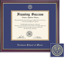 Framing Success Windsor Diploma Frame Dble Matted in Gloss Cherry Finish, Gold Trim. BA, MA, DMA