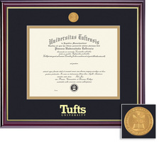 Framing Success Windsor Medallion Double Diploma Frame Matted in High Gloss Cherry Finish