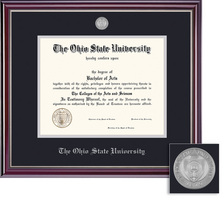 Framing Success Jefferson Medallion Double Matted Diploma Frame with a High Gloss Cherry Finish