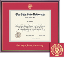 Framing Success Academic Diploma Frame, Double Matted in Gloss Cherry Finish, Gold Trim