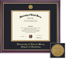 Framing Success Windsor Dental Diploma Frame, Double Mat HighGloss Cherry Finish & Gold Inner Bevel