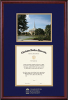 Diploma and Photo with Navy Blue and Gold Double Mat in Classic