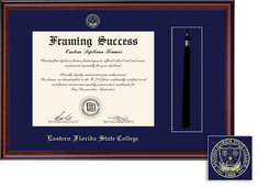 Framing Success Classic Diploma and Tassel Frame, Single Mat in burnished cherry finish
