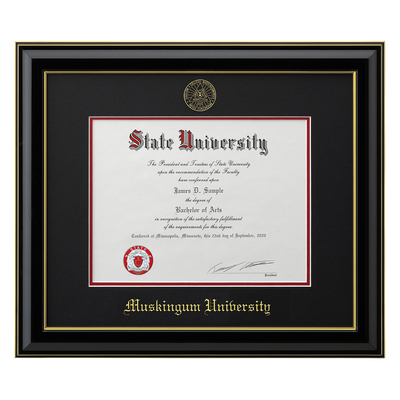 classic black frame with black matte gold trim and gold foil seal