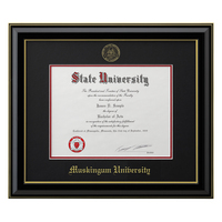 Classic Black Frame with Black Matte, Gold Trim and Gold Foil Seal