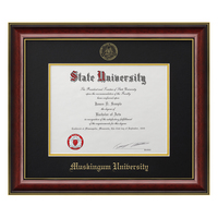 Classic Mahogany Frame with Black Matte, Gold Trim and Gold Foil Seal