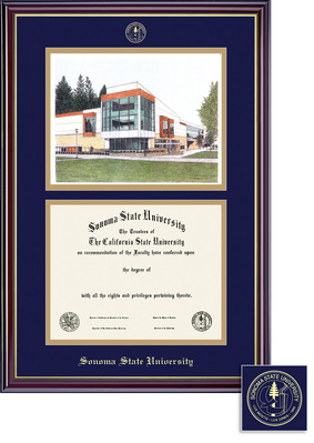 Windsor Diploma Litho Frame, Eco Hardwood in Gloss Cherry Finish, Gold Trim